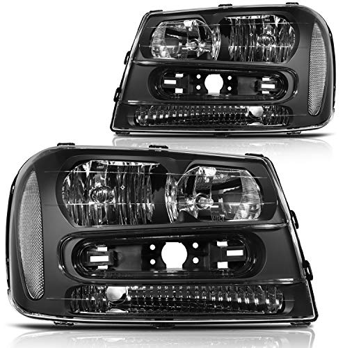 ECCPP Headlight Assembly for Chevrolet Trailblazer 2002-2009,for Chevrolet Trailblazer EXT 2002-2006 Driver and Passenger Side Headlamps Black Housing White Reflector