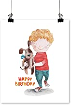"Rich in colorboy pup Birthday Draw Print Decor for Living Room,16"" W x 24"" L/1pc(Frameless)"