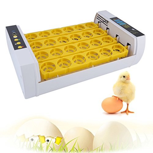 Tatayang Vollautomatisch Brutmaschine, 24 Eier Inkubator Brutautomat mit LED Temperaturanzeige Flächenbrüter Brüter Inkubator, Geflügel Inkubator, Geflügel Hatcher (24 Eier)