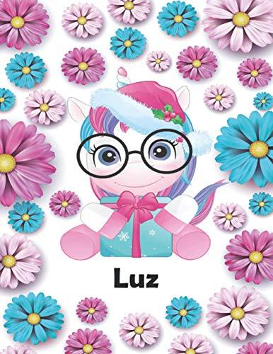 Luz: Idea regalo original para niña cuaderno de dibujo grande unicornio para...