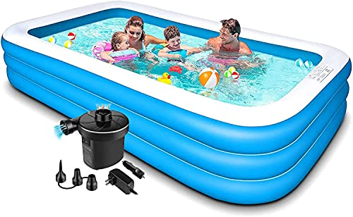Kreative Marche Swimming Pool Inflatable Bath Tubs with Electric Pump for Adults, Kids for Spa (Blue, 10 Feet)