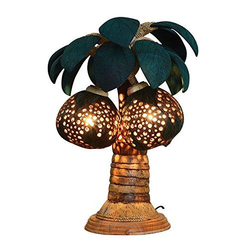 ZWL Lampe de Table en Bois, Style rétro Coquille de Noix de Coco modélisation Lampe de Table créative Classique Lampe Chambre Lampe de Chevet E27 Porte-Lampe 30 * 48 cm Fashion.z (Taille : 30 * 48cm)