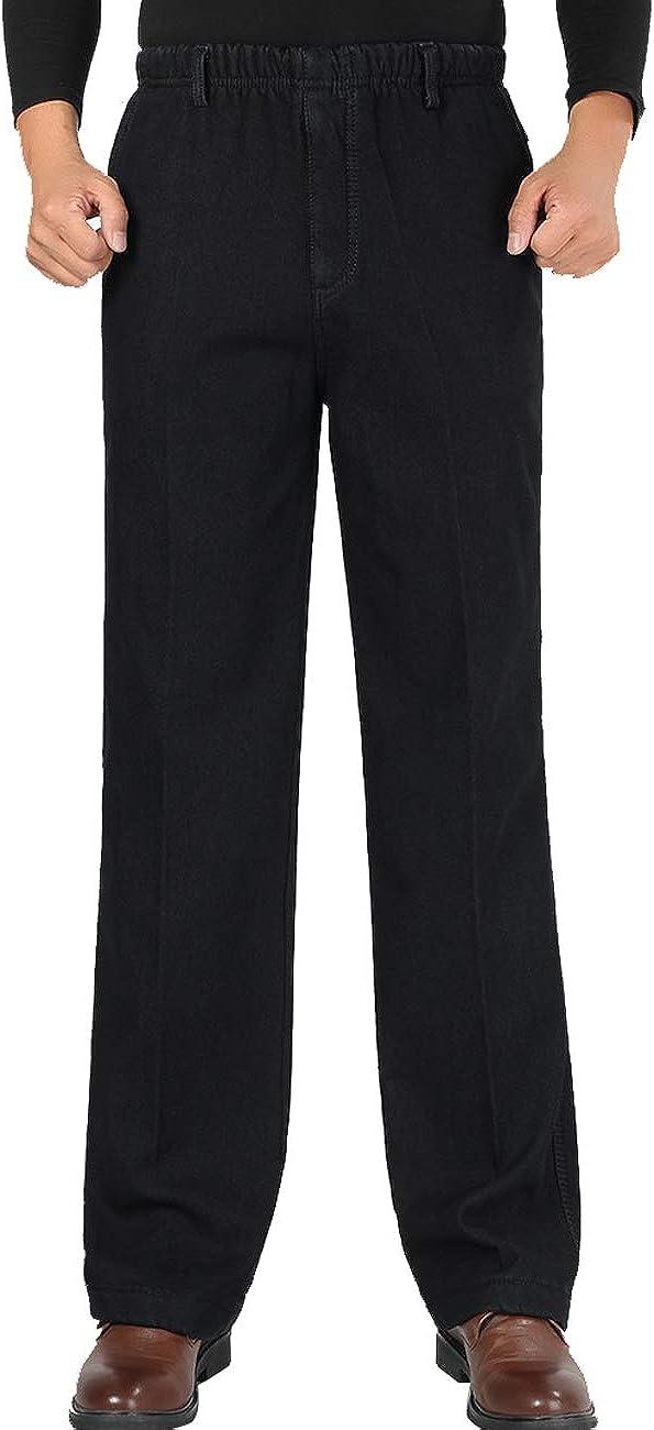 Zoulee Men's Full Elastic Waist Tucson Mall 5 popular Denim Jeans Tro Pull On Straight