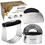 HULISEN Stainless Steel Pastry Scraper, Dough Blender & Biscuit Cutter Set (3 Pieces/ Set), Heavy Duty & Durable with Ergonomic Rubber Grip, Professional Baking Dough Tools, Gift Package