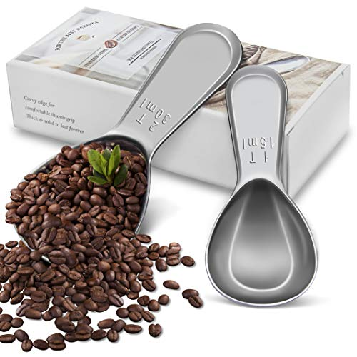 Edelin Heavy 18/8 Stainless Steel Coffee Scoops Set, 2 Piece Ergonomic Measuring Spoons, 1 Tbsp & 2 Tbsp EXACT for Coffee, Tea, Sugar, Flour and More