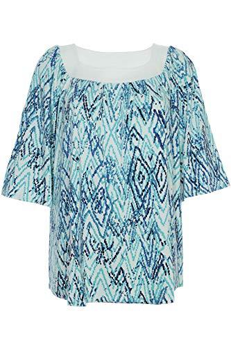 X-Two Yesta by T Shirt Tunika Damen Lagenlook Kurzarm Loose Fit Plusgröße, Farbe:blau, Damengrößen:44