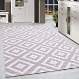 HomebyHome Alfombra Moderna Cuadros geométricos Rosa Blanco Moteado salón, tamaño:200x290 cm
