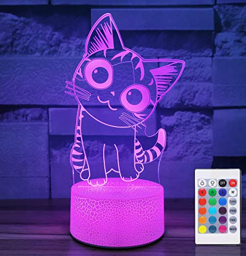 Cherish tea Cat Lamp 3D Illusion Night Lights for Kids - with Remote & Smart Touch Cute Kitty Nightlights 7 or 16 Colors - Cat Lover Gifts for Women Teen Girls Baby Age 2 3 4 5 6 Year Old (Color Base)