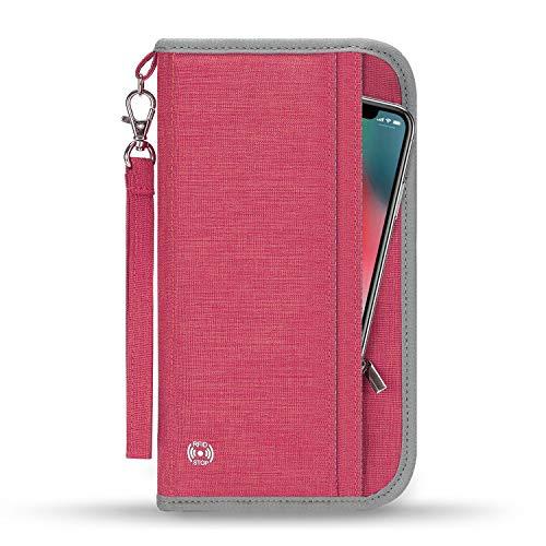 Vemingo Family Passport Holder RFID-Blocking Travel Wallet Ticket Holder Document Organizer with Zipper for Women Men, Fits 5 Passports