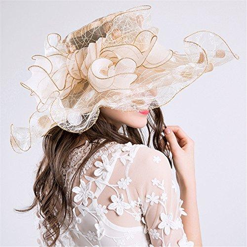LBY Verano Protección UV Europa Y América Damas Moda Sombreros Arcos Nido Moda Malla Sombreros Visera Sombreros de Sol (Color : Beige, Tamaño : 56-58cm)