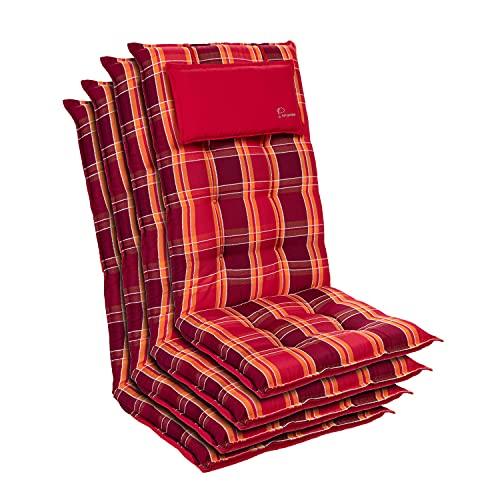 Homeoutfit24 Sylt - Cojín Acolchado para sillas de jardín, Hecho en Europa, Respaldo Alto con cojín de Cabeza extraíble, Resistente Rayos UV, Poliéster, 120 x 50 x 9 cm, 4 Unidades, Rojo a Cuadros
