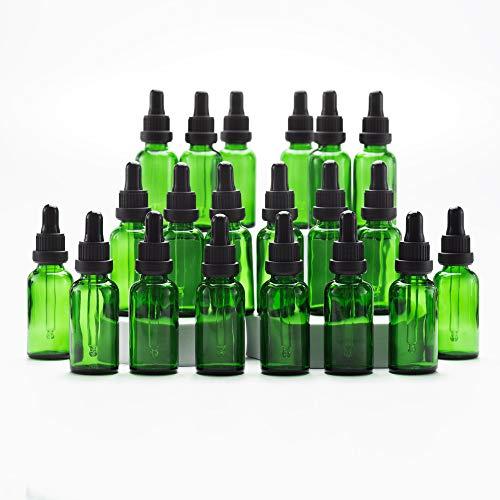 Yizhao Verde Frasco Cuentagotas Cristal 30ml, Botellas Cuentagotas con [Pipeta Cuentagotas Cristal], para Aceite Esencial, Masaje,Fragancia, Aromaterapia, Laboratorio - 24Pcs