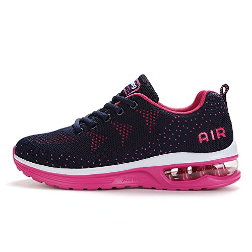 Axcone Womens Tennis Lightweight Athletic Shoes Breathable Red Sport Air Fitness Gym Jogging Sneaker a35rrd39