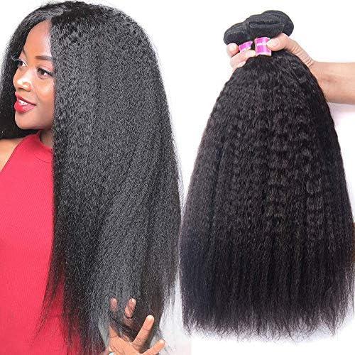 UNice Hair 8A Yaki Kinky Straight Human Hair 3 Bundles 100 Unprocessed Mongolian Virgin Human product image