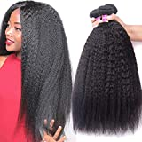 UNice Hair 8A Yaki Kinky Straight Human Hair 3 Bundles, 100% Unprocessed Mongolian Virgin Human Hair Weave Extensions Natural Color (16 18 20inch)