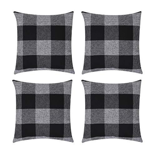 ZhangShi Set of 4 Buffalo Check Plaid Throw Pillow Covers, 18 x 18 Inch Farmhouse Decorative Square Pillow Cushion Cover Case Black and Grey for Home Sofa Bedroom Car Decor
