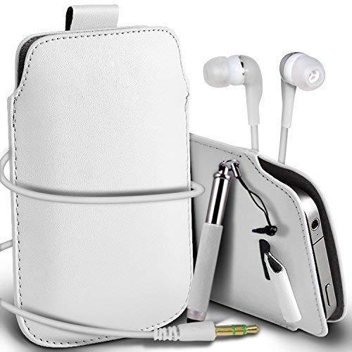 N4U Online® HTC One M9 Supreme Schutz Kunstleder Lasche Schnur Hülle Cover Mini Kapazitiver Eingabestift & Passende 3.5MM Ohrhörer Kopfhörer - Weiß