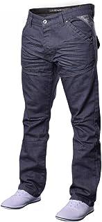Men's Designer Enzo EZ243 EZ244 Jeans Light Dark Blue Black Grey Straight Leg