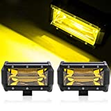Willpower 5 pouces 72W ambre barre lumineuse de travail à ambre faisceau d'inondation brouillard conduisant la lumière de travail menée avec support de montage pour camion atv suv 4x4 bateau-2 pièces