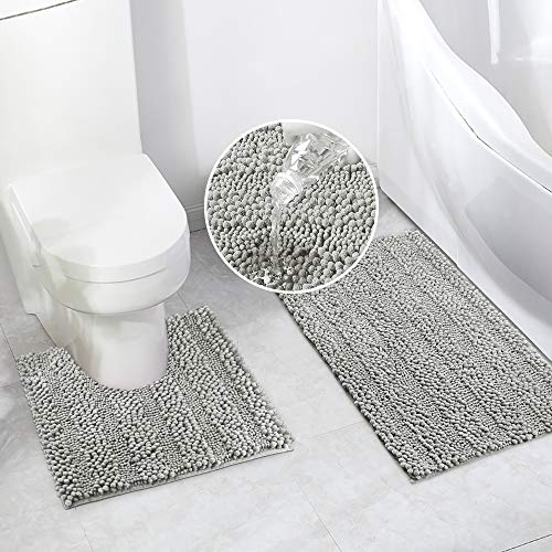 Bathroom Rugs Bath Mat Set for Bathroom 2 Piece 20 x 20 U Shape Contour Bath Rug & 20 x 32 Bathroom Rug Mats Toilet Machine Wash Non Slip(Light Grey)