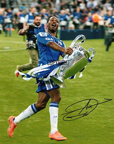 Fotodruck von Didier Drogba Chelsea, mit vorgedrucktem Autogramm, limitierte Edition