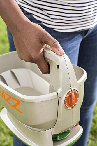 Scotts Wizz Hand-Held Spreader with EdgeGuard Technology - Apply Grass Seed, Fertilizer or Weed Control Products, Battery Powered, Holds up to 2,500 sq ft of Scotts Lawn Products