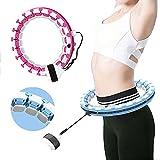 Joy Jump Aros de Hula con peso inteligente para adultos | Tamaño ajustable con 24 piezas desmontables | Equipo de aros de fitness | Masaje inteligente de pérdida de peso (rosa)