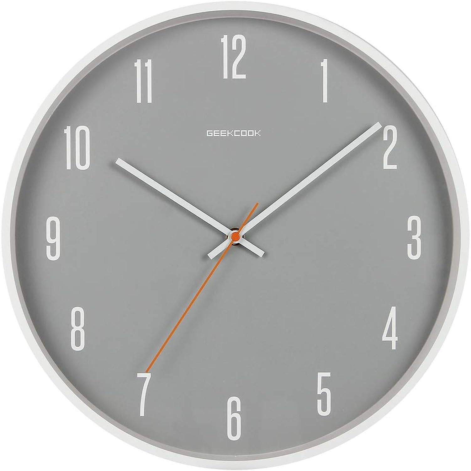 alta calidad Reloj Reloj Reloj de parojo para el hogar Mute, de 14 pulgadas con esfera gris Reloj minimalista de estilo nórdico, creativo, de metal y madera para la decoración del dormitorio Funciona con pilas,blancoometalnumber  venta