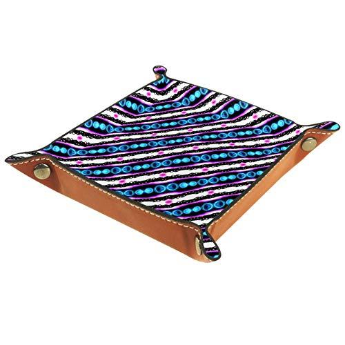 Amili - Bandeja decorativa de piel para joyas, color azul fucsia, blanco...