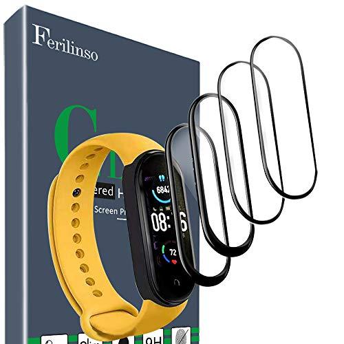 Ferilinso [4 Piezas Protector Pantalla para Xiaomi Mi Band 5, [Cobertura Completa] [Adsorcion anhidra] [Diseño Compatible con Funda] Flexible TPU HD Protector de Protectora para Mi Band 5