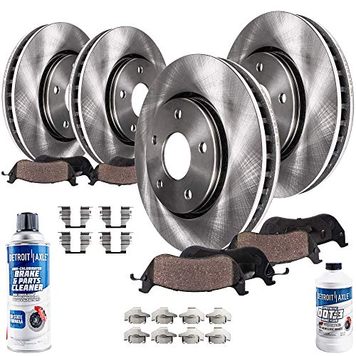 Detroit Axle - All (4) Front and Rear Disc Brake Kit Rotors w/Ceramic Brake Kit Pads w/Hardware & Brake Kit Cleaner & Fluid for 07-09 Chrysler Aspen - [07-09 Dodge Durango] - 2006-2017 Dodge Ram 1500