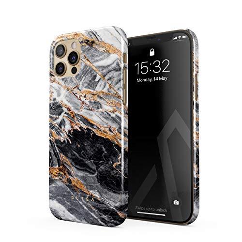 BURGA Hülle Kompatibel mit iPhone 12 PRO - Handy Huelle Schwarz Marmor Gold Black Marble Mädchen Dünn Robuste Rückschale aus Kunststoff Handyhülle Schutz Hülle Cover