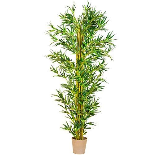 PLANTASIA® Bambus-Strauch, Echtholzstamm, Kunstbaum, Kunstpflanze - 220 cm, Schadstoffgeprüft