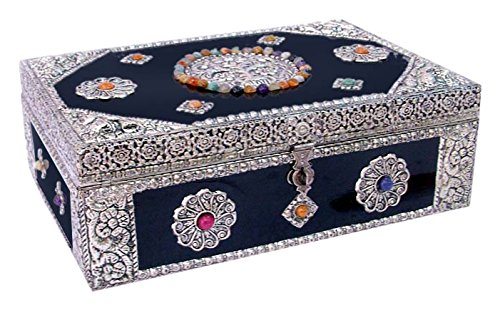 NOVICA Nickel Repousse Mango Wood Jewelry Box with Glass Accents, Antique Sophistication