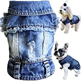 Brocarp Dog Jean Jacket, Blue Denim Lapel Vest Coat T-Shirt Costume Cute Girl Boy Dog Puppy Clothes, Comfort and Cool Apparel, for Small Medium Dogs Cats, Machine Washable Dog Outfits (L, Blue)