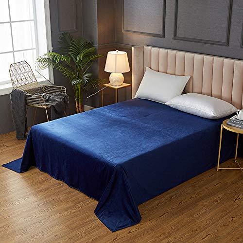YB&GQ Volltonfarbe Flanell Bettlaken,Ultra Weich Seidige Haustuch Winter Bettlaken In Volltonfarben,für Glückseligen Schlaf-blau 230x245cm(91x96inch)