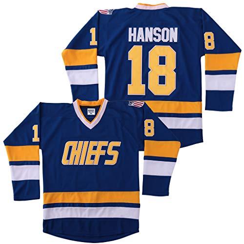 Jeff Hanson #18 Brothers Charlestown Chiefs Jersey Slap Shot Movie Hockey Charleston Blue - Blau - X-Groß