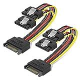 2 unids/Set 15Pin SATA Cable de extensión de Fuente de alimentación SATA 1 Macho a 2 Hembra 18AWG Cobre Y Cable Divisor para PC