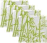 Set di 4 bambù verdi con stelo Pianta botanica Albero stampato su tovaglioli di stoffa bianca Tovaglioli da pranzo in poliestere lavabile 20 'x 20' per tavolo da pranzo Festa di matrimonio Vacanz