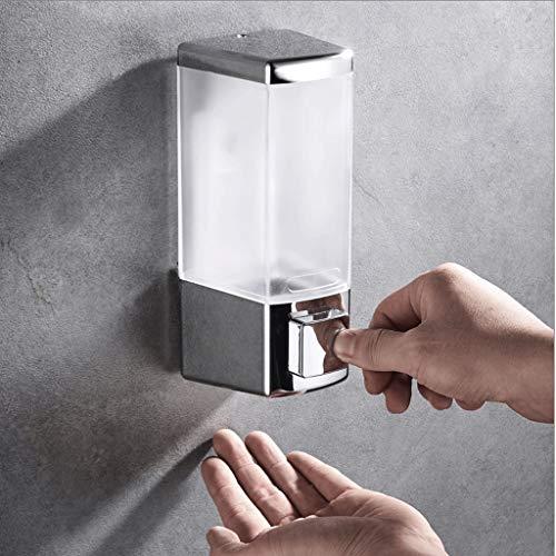 Aveo Schaumseifenspender Wand-Seifenspender mit Pumpe, Kunststoff-Seifenbad Duschgel Transparent 500ML - Doppel-Seifenspender Duschlotionsspender (Color : Chrome, Größe : Single)