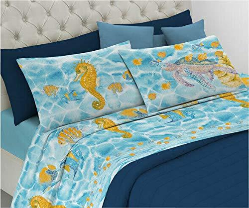 Smartsupershop Parure de lit – Hippocampe vert eau – en Coton Italien – Made in Italy – Produit de qualité