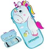 Estuche de lápices Unicornio Estuches Lápiz de Gran Capacidad Bolsas de lápiz Unicornio para Niñas, Niños y Adultos (Azul Claro)