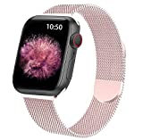 WETAL Metal Magnetic Milanese Band for Apple Watch Bands 44mm 42mm 40mm 38mm, Stainless Steel Mesh Strap for iWatch Series 6 5 4 3 2 1 SE (42mm/44mm, Rose Pink)