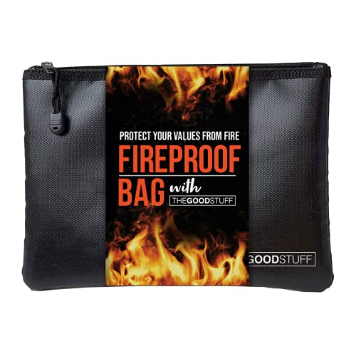 The Good Stuff Water and Fireproof Pouch (2000℉) - Protect Money, Passports, and Documents with a Fireproof Money Bag for Cash, Safe Money Storage Bags Fire Proof Waterproof
