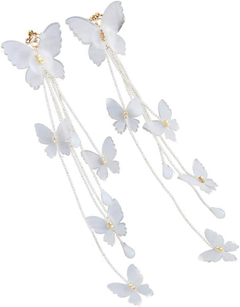 gLoaSublim Earrings,Women Bridal Cloth Butterfly Long Tassel Wedding Dangle Clip on/Hook Ear Clip