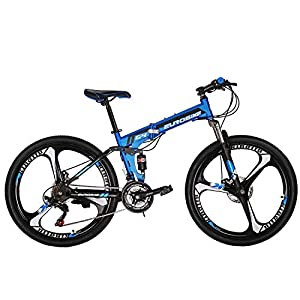 "Mountain Bikes Eurobike OBk G4 Folding Mountain Bike 21 Speed Bicycle Full Suspension MTB Foldable Frame 26"" 3 Spoke Wheels"