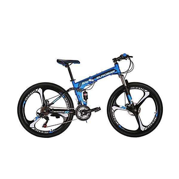 """Mountain Bikes Eurobike OBk G4 Folding Mountain Bike 21 Speed Bicycle Full Suspension MTB Foldable Frame 26"""" 3 Spoke Wheels [tag]"""