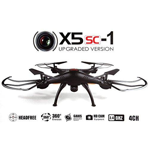 Syma X5SC-1 - Drone cuadricóptero con control remoto y cámara HD, (Negro)