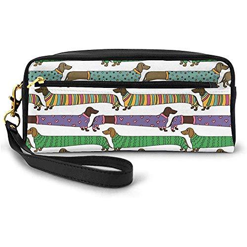 Teckels de Style Dessin animé vêtus de Pyjamas Chevron Lines Polka Dots and Hearts Small Makeup Bag Pencil Case 20cm * 5.5cm * 8.5cm