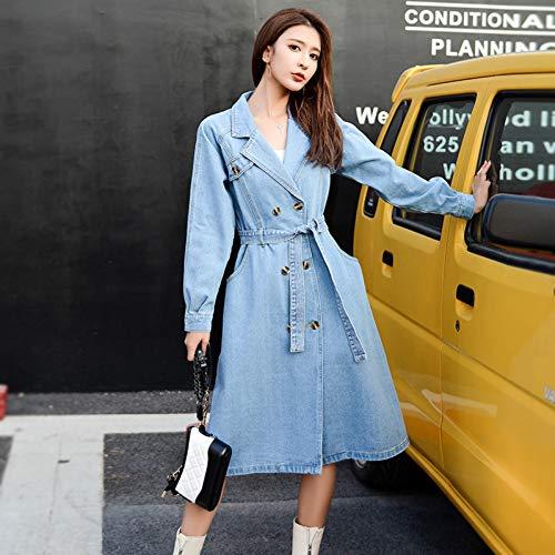 DAIDAILYQ Denim gabardina para las mujeres otoño suelta abrigo largo mujeres doble-botonadura suelta jeans gabardina abrigo cortavientos